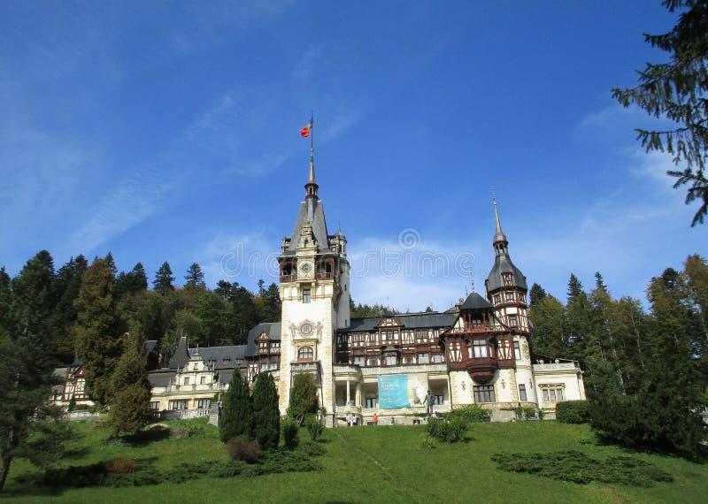 Peles Castle from Sinaia resort in Romania royalty free stock photo
