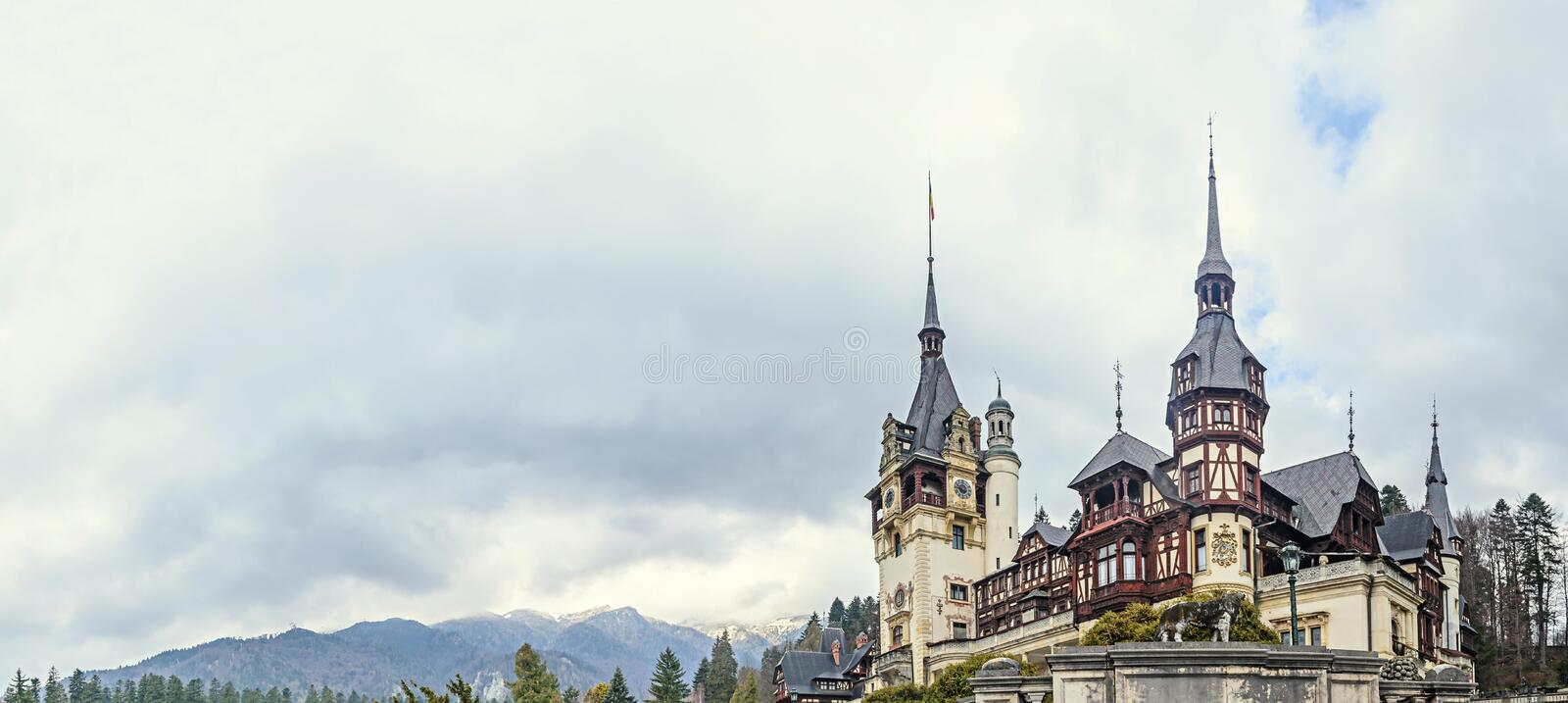 The Peles Castle from Sinaia Romania, Carpathian Mountains royalty free stock photos