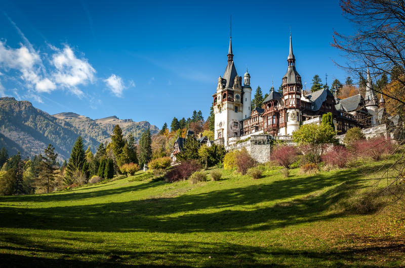 Peles castle in Sinaia, Romania. Sinaia, Romania - October 19th,2014 View of Peles castle in Sinaia, Romania, built by king Carol I of Romania. The castle is stock images