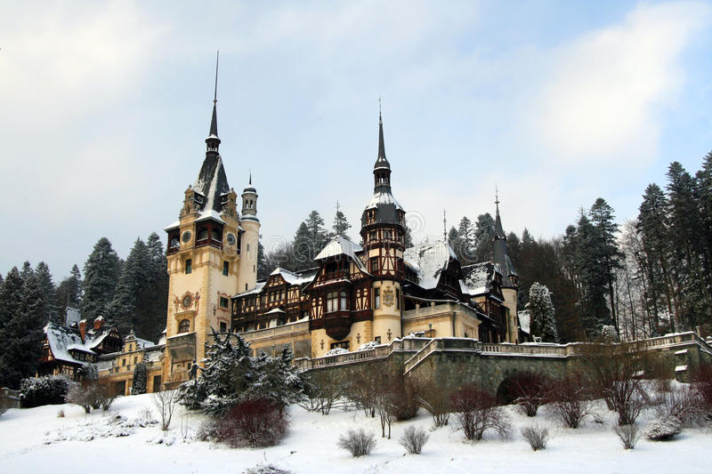 Peles castle in winter royalty free stock photos