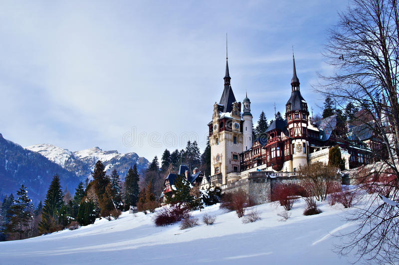 Peles Castle in winter royalty free stock photo