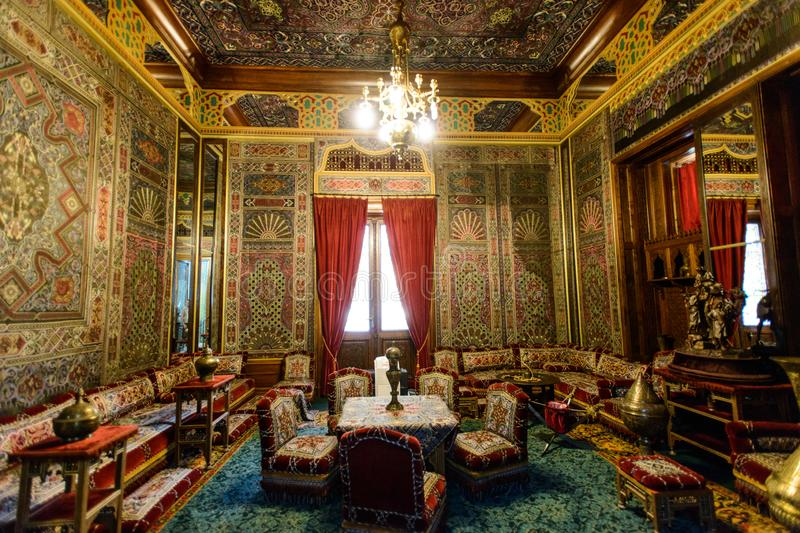 Peles palace castle in Sinaia, Romania. SINAIA, ROMANIA - AUGUST 20, 2014: The interior of beautiful Neo-Renaissance Peles palace castle in Carpathian mountains royalty free stock photography