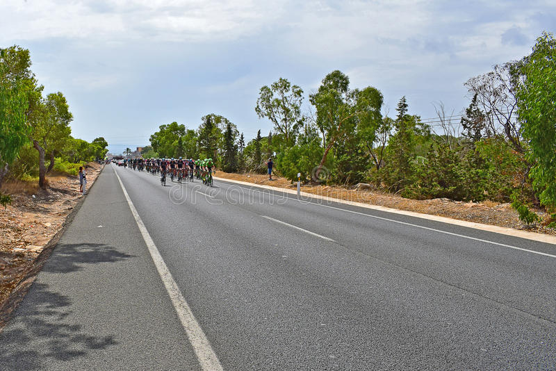 The Peleton La Vuelta España. Team Sky with the red jersey rider Chris froome and Cannondale Drapac leads the field in La Vuelta España stage 9 2017 royalty free stock images