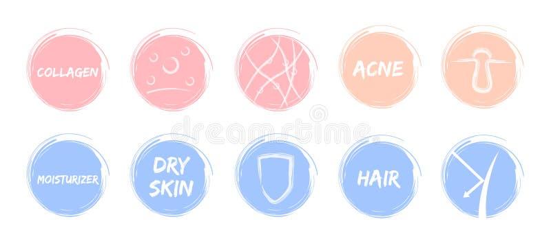 Pelez la protection en pastel de collagène de cheveux de crème hydratante de peau d'acné d'icône/bouclier illustration stock
