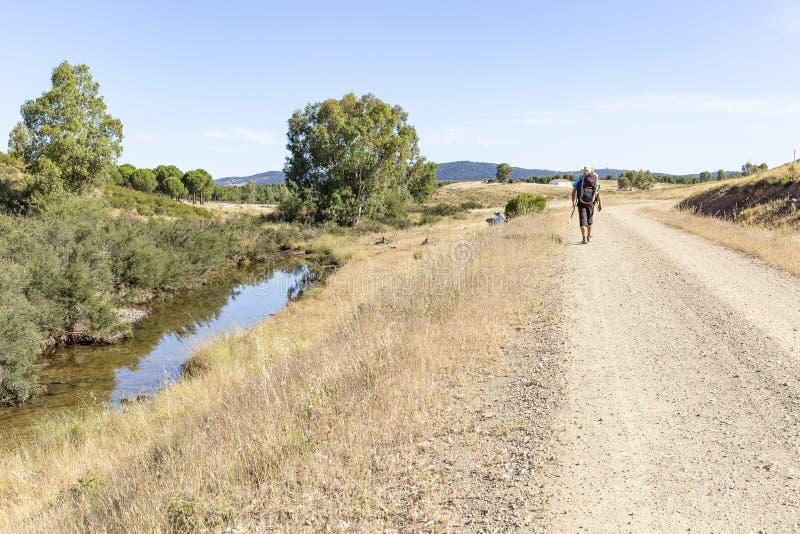 Pelgrim die een landweg in los Berrocales Natuurreservaat lopen bij Siërra Norte, Sevilla stock foto's