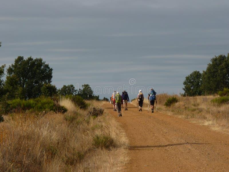 Pelgrim langs de manier van St James Mens die op Camino DE Santiago lopen stock afbeelding