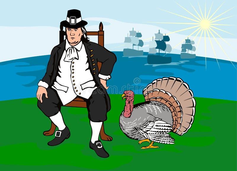 Pelgrim met Turkije en schepen royalty-vrije illustratie