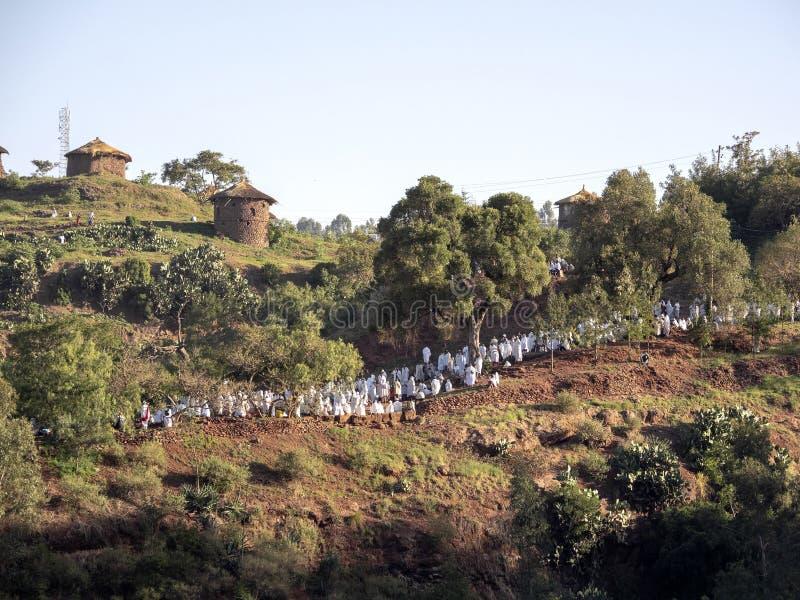 Pelgrims bij St George Kerk, Lalibela, Ethiopië royalty-vrije stock fotografie