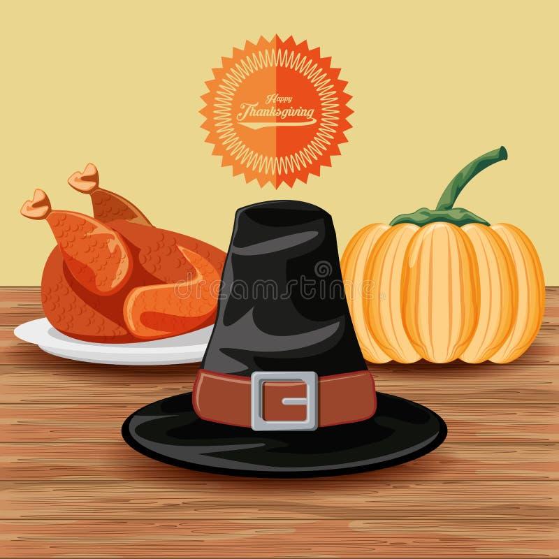 Pelgrimshoed met Turkije en pompoen van thanksgiving day royalty-vrije illustratie