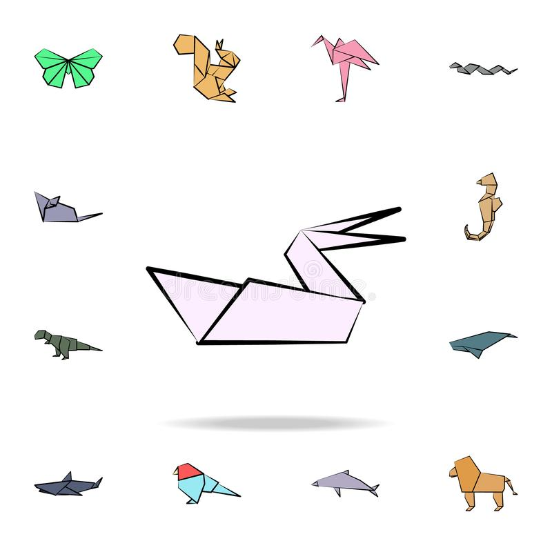 Pelican colored origami icon. Detailed set of origami animal in hand drawn style icons. Premium graphic design. One of the. Collection icons for websites, web royalty free illustration
