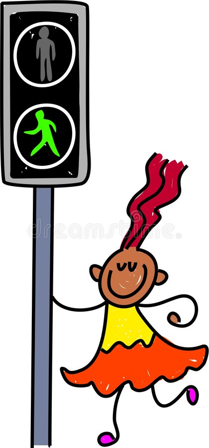 Pelican crossing kid stock illustration