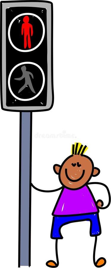 Pelican crossing kid stock illustration