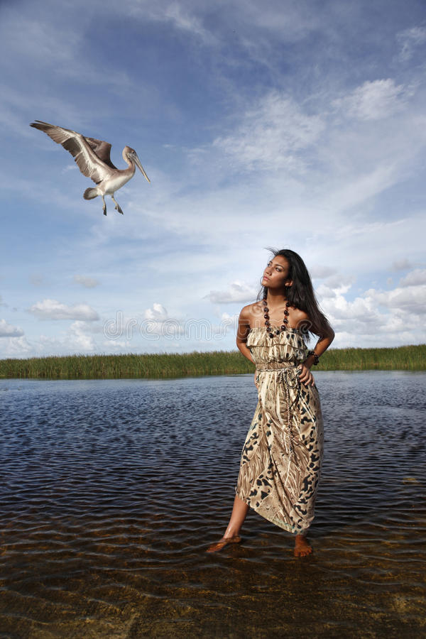 The pelican and the girl stock images