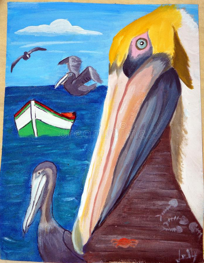 The pelican`s selfie royalty free stock photography
