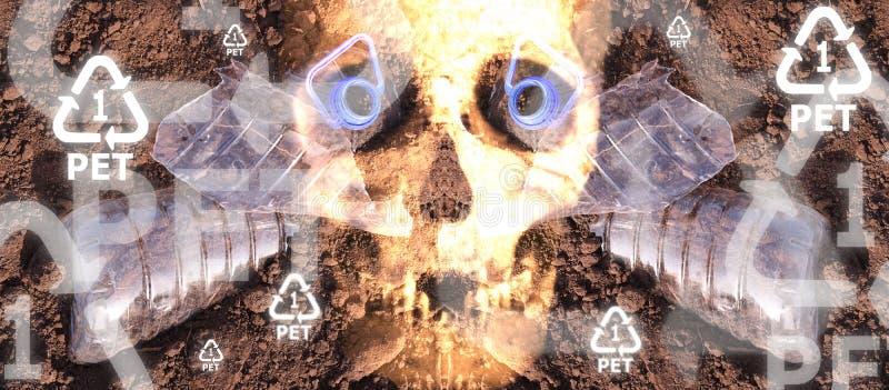 Peligro plástico del cráneo de la botella del ANIMAL DOMÉSTICO fotografía de archivo libre de regalías