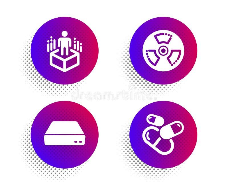 Peligro químico, realidad aumentada y mini sistema de los iconos de la PC Muestra de la píldora de la cápsula Realidad tóxica, vi libre illustration