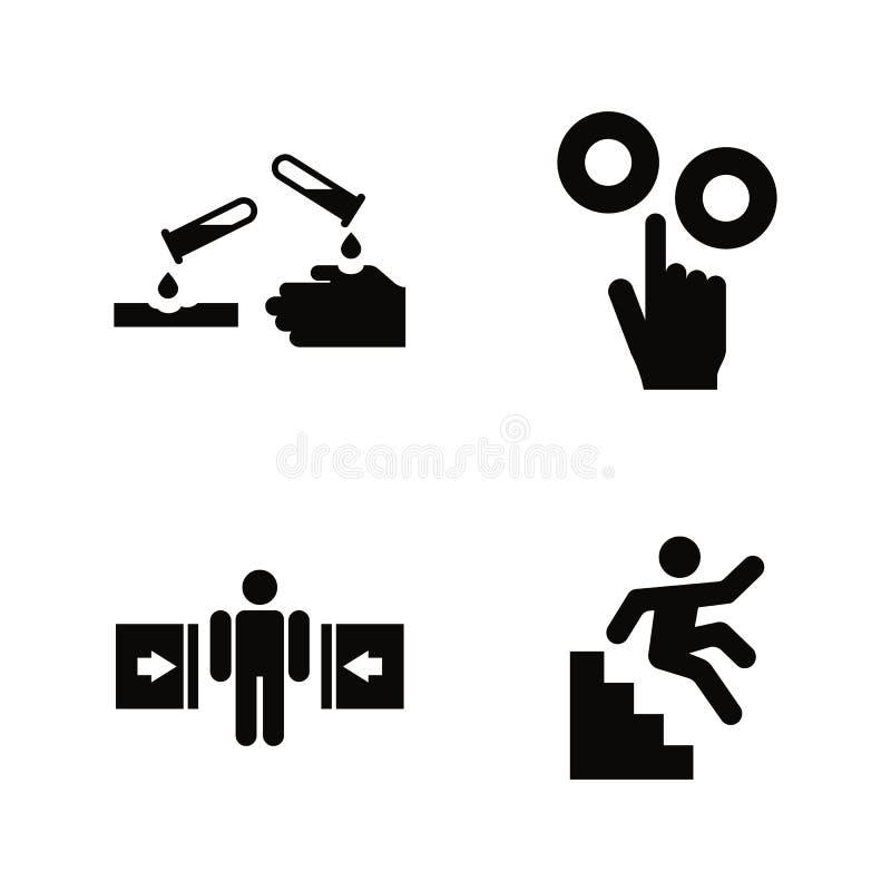 Peligro y peligro Iconos relacionados simples del vector ilustración del vector