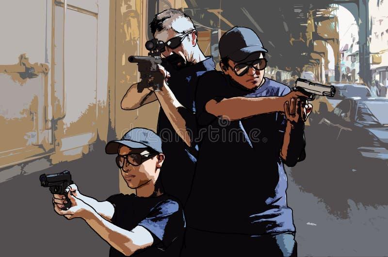 Peligros de la ciudad stock de ilustración
