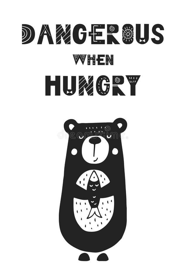 Peligroso cuando está hambriento - cartel dibujado mano única del cuarto de niños con las letras handdrawn en estilo escandinavo stock de ilustración