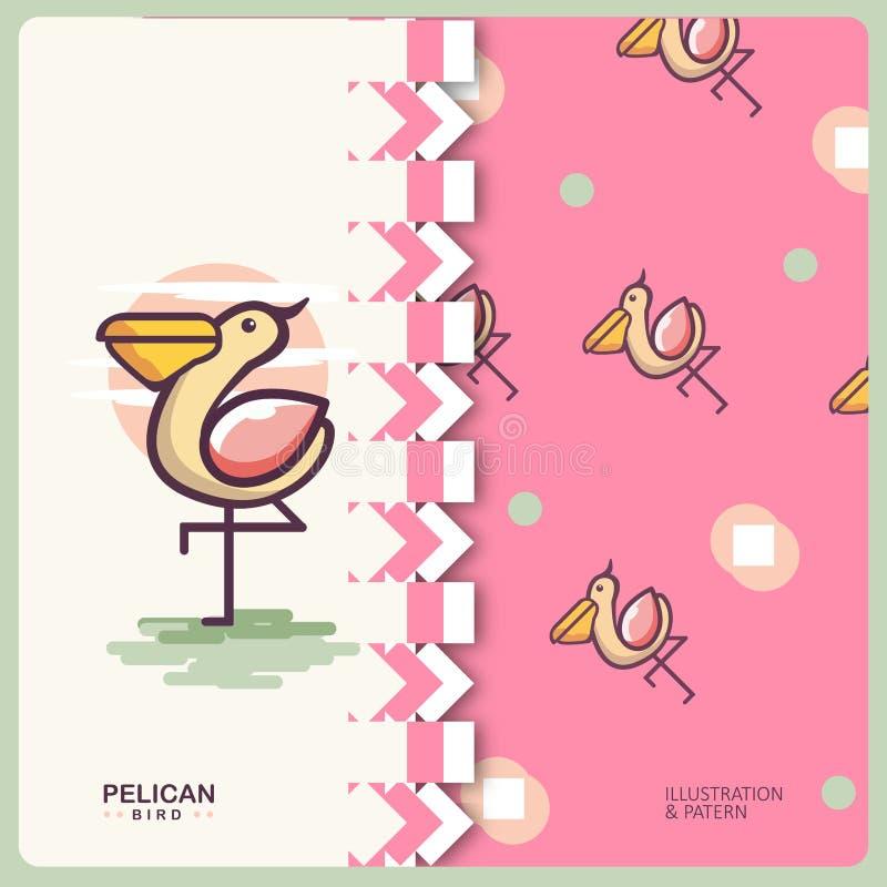 Pelikan Patern royalty ilustracja