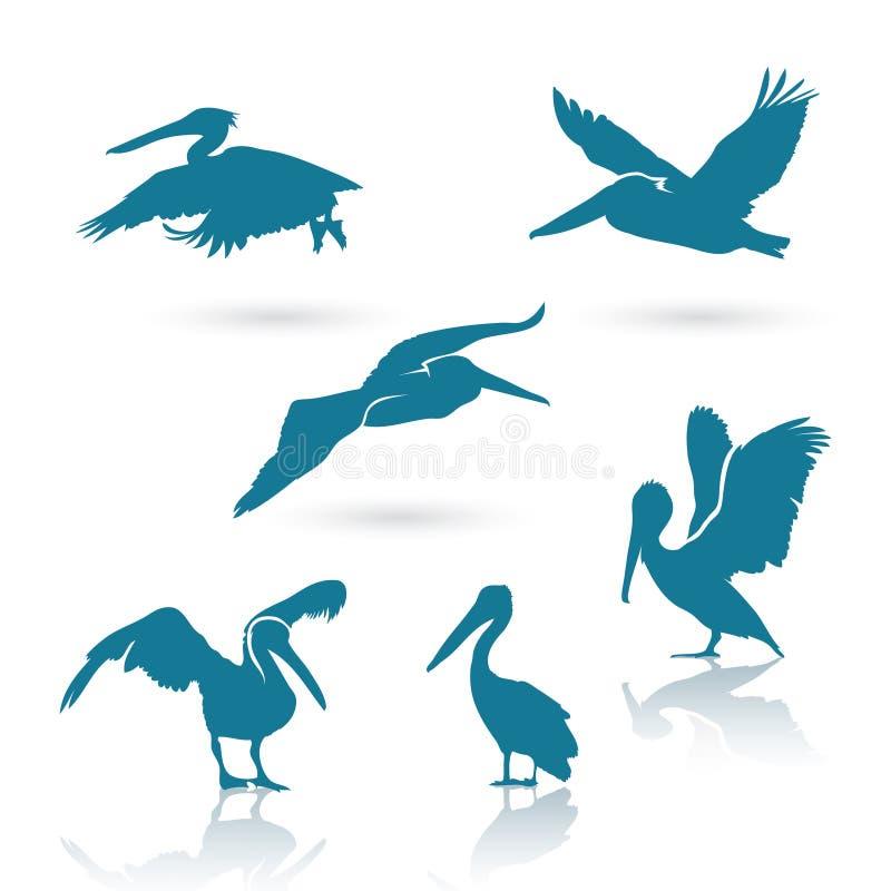 Pelikan sylwetki royalty ilustracja