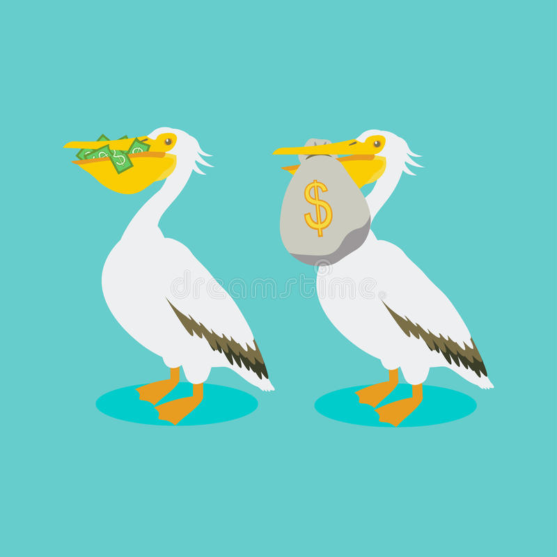 Pelikan z pieniądze royalty ilustracja