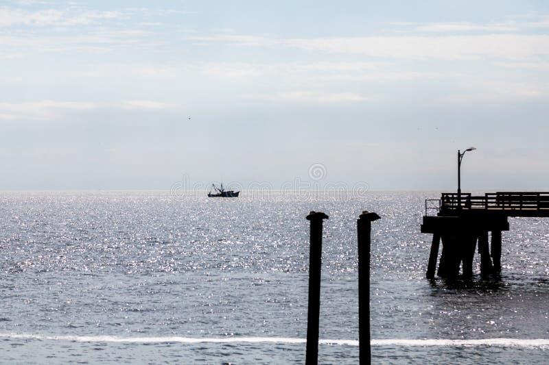 Pelikane Pier und Garnelen-Bootsschattenbild lizenzfreie stockfotografie
