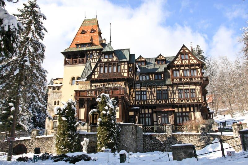 Pelisor Castle, Sinaia, Romania. View of the Pelisor Castle in winter stock photo