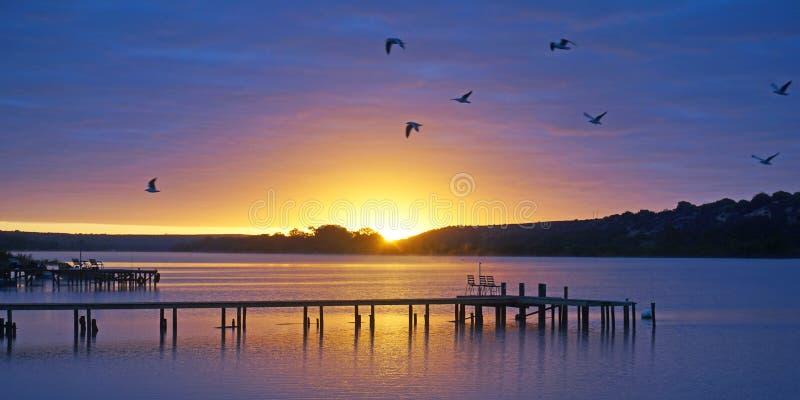 Sunrise over Murray River at Pellaring Flat, South Australia stock images