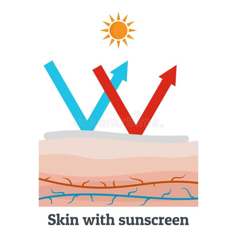 Pelle con l'icona della protezione solare, stile piano royalty illustrazione gratis