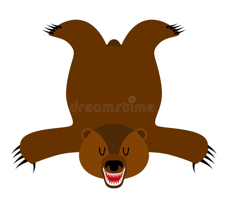 Pelle d'orso dell'orso grigio Pelle dell'orso isolata Trofeo del cacciatore isolato illustrazione di stock