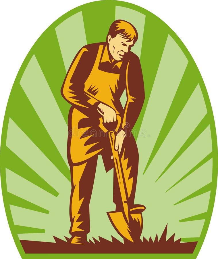 Pelle de creusement à fermier de jardinier illustration libre de droits