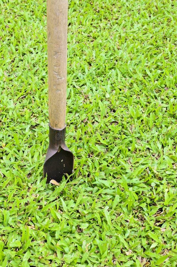 Pelle de creusement pour l'herbe verte image libre de droits