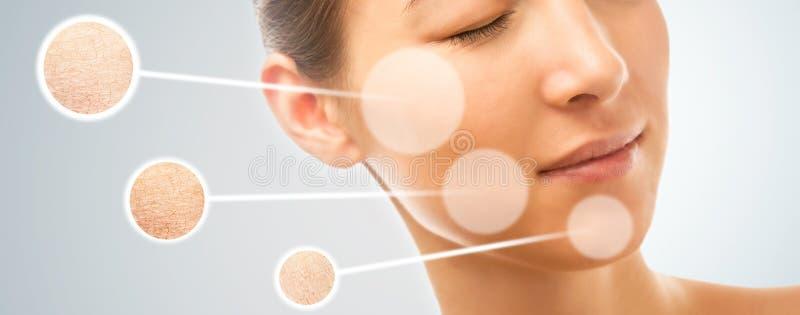 Pelle della donna prima e dopo la manipolazione dei cosmetici fotografie stock