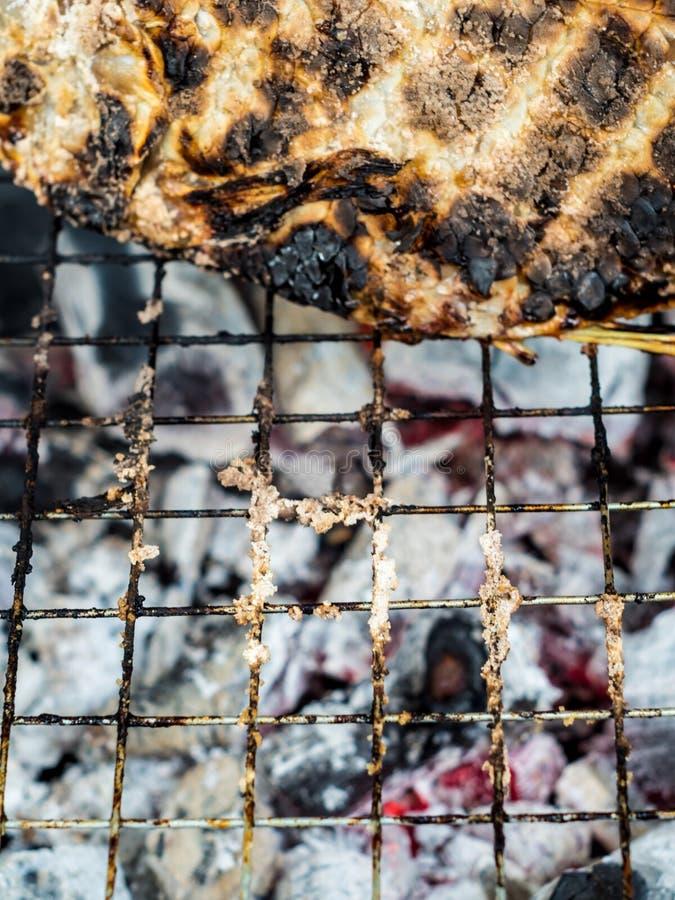 Pelle della griglia del pesce su carbone caldo fino a nero e bruciacchiato fotografie stock libere da diritti