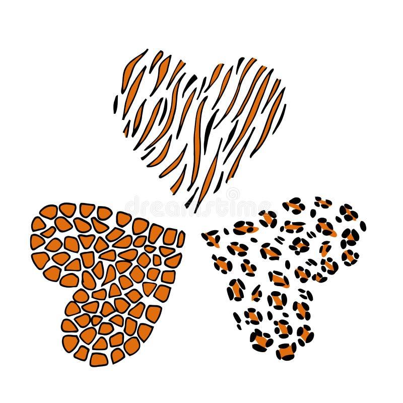 Pelle della stampa della giraffa, del leopardo e della tigre sotto forma di un cuore illustrazione vettoriale