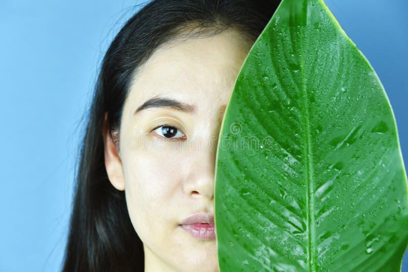 Pelle e idratante naturale, pelle nuda asiatica del fronte immagini stock libere da diritti