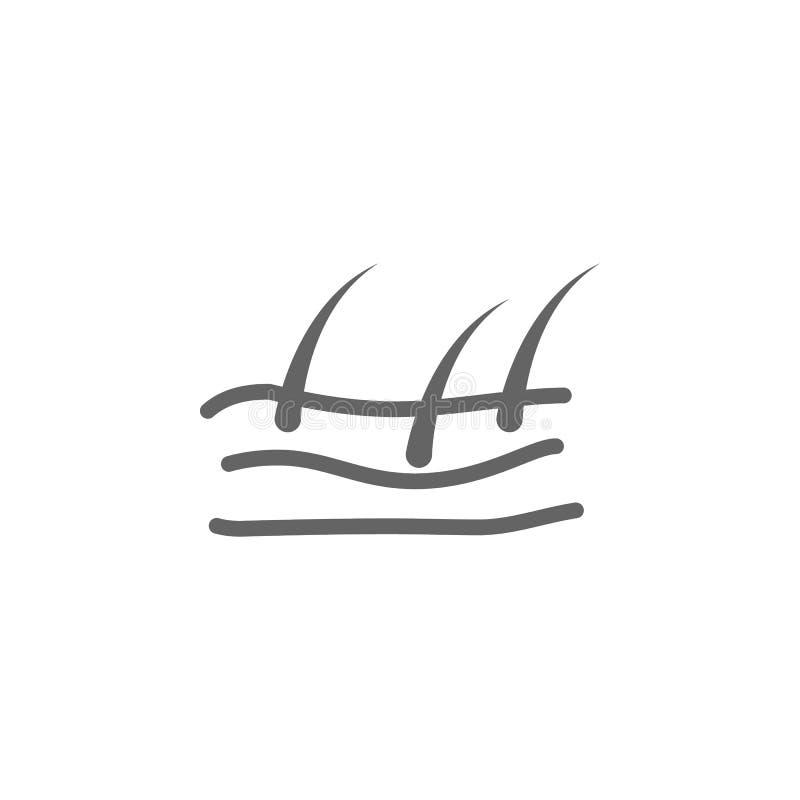 Pelle, icona dei capelli r Linea sottile icona per progettazione del sito Web e sviluppo, sviluppo di app Icona di premio illustrazione vettoriale