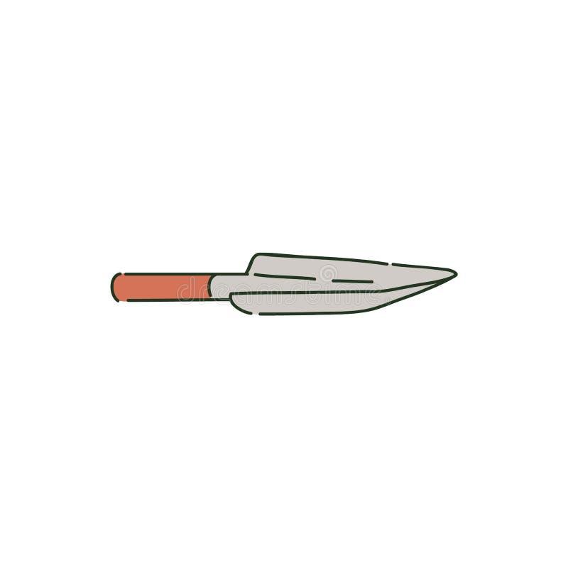 Pelle ou truelle à jardin en métal sur le style en bois de croquis de poignée illustration libre de droits