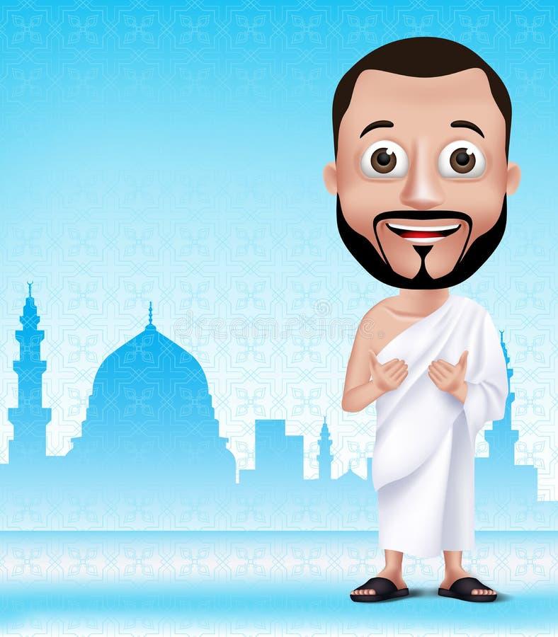 Pellegrinaggio alla Mecca d'esecuzione o Umrah del carattere musulmano dell'uomo illustrazione vettoriale