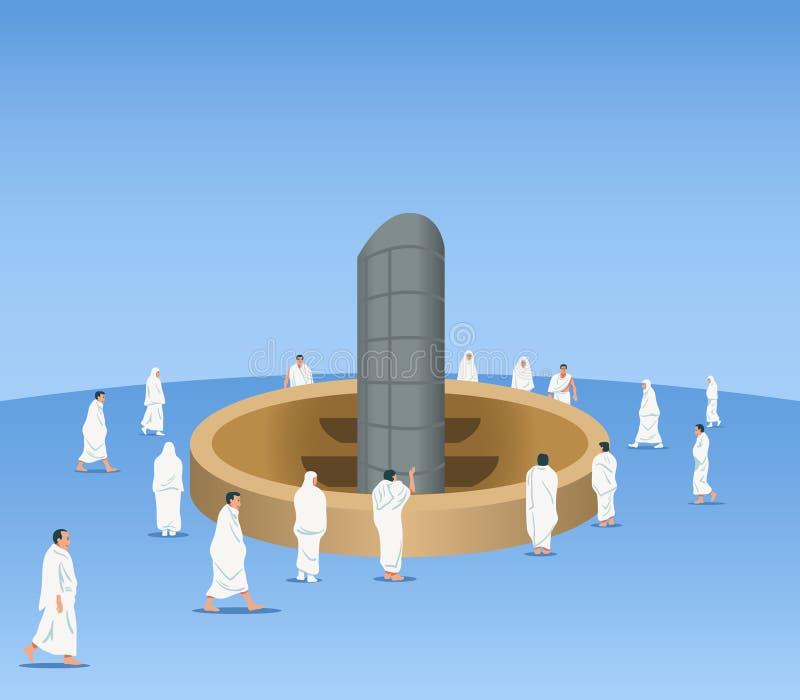 Pellegrini musulmani intorno alla colonna del diavolo royalty illustrazione gratis