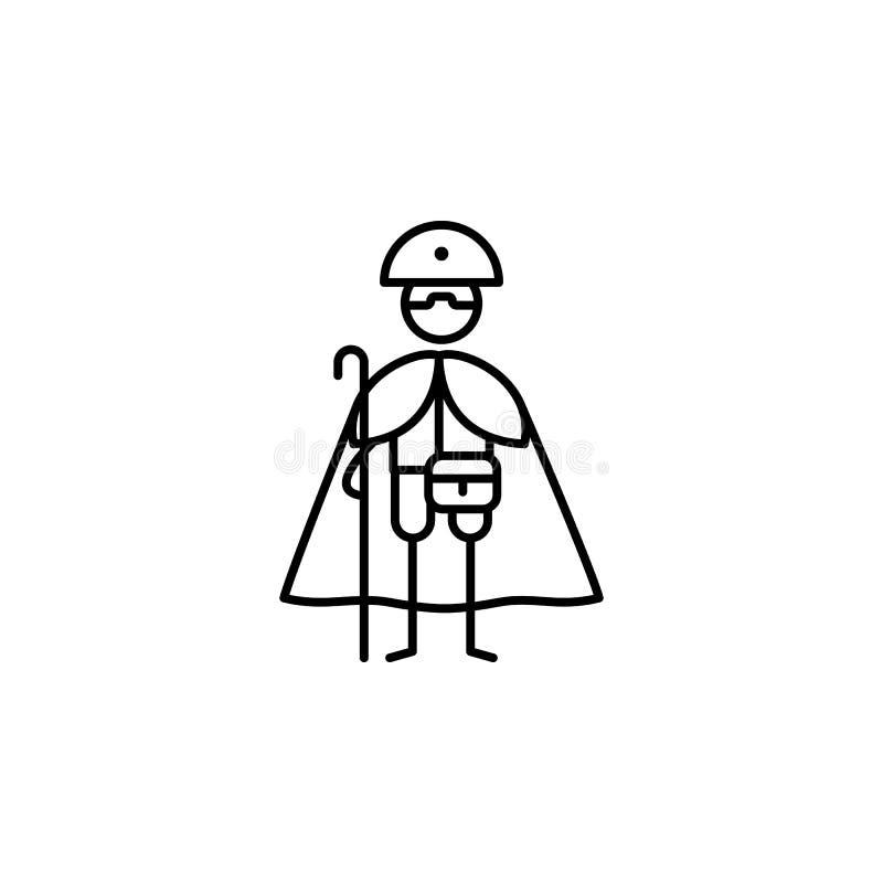 Pellegrino, icona di devozione Elemento della gente nella linea icona di viaggio Linea sottile icona per progettazione del sito W illustrazione di stock