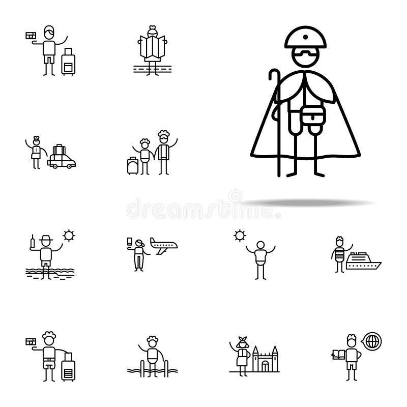 Pellegrino, icona di devozione Insieme universale delle icone di viaggio per il web ed il cellulare illustrazione vettoriale
