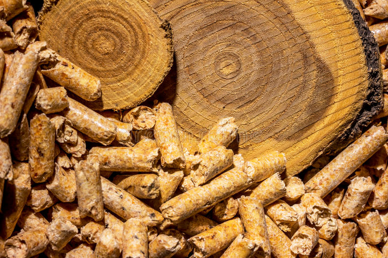 Pellets for heating. Pellzts for heating as an alternative energy source. eco-friendly heating stock photo