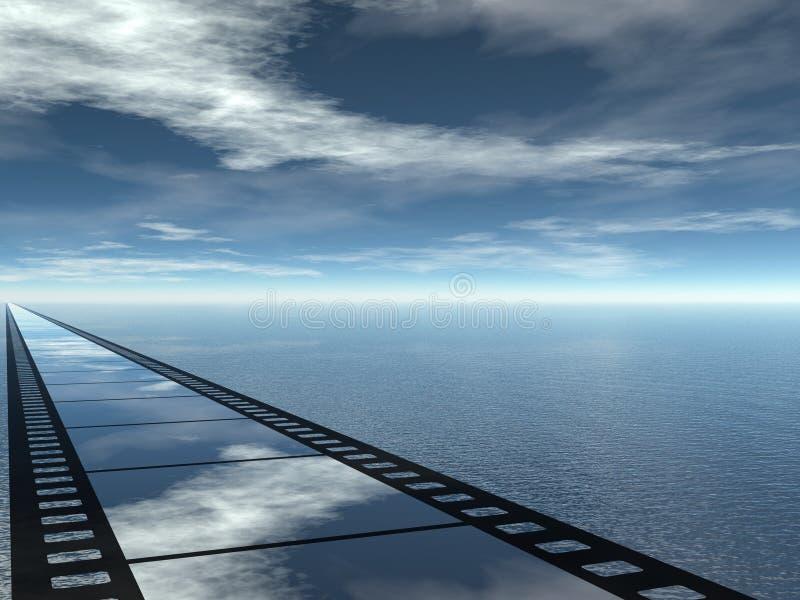 Pellicola e vista sul mare illustrazione vettoriale