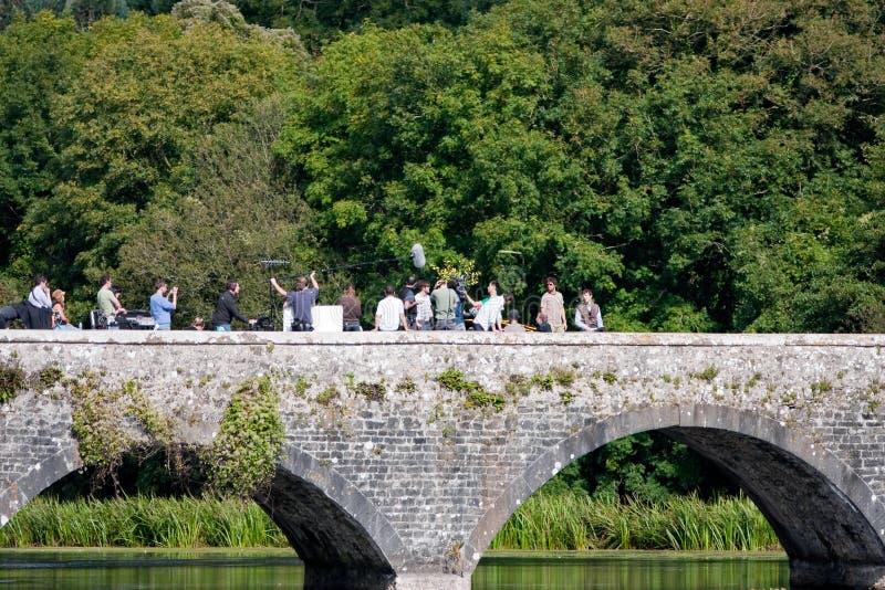 Pelliculage vedette de film de troisième au lac Bosherston images stock