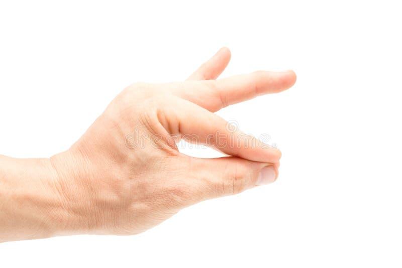 Pellizco asiático de la mano del ` s de los hombres el dedo índice y el pulgar junto fotos de archivo libres de regalías