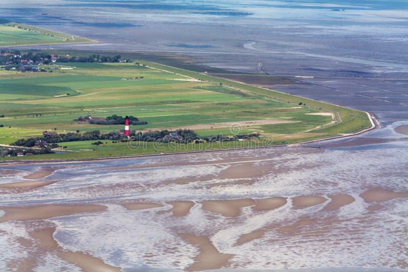 Pellworm ö, flygbild av den Schleswig-Holstein Wadden havsnationalparken fotografering för bildbyråer