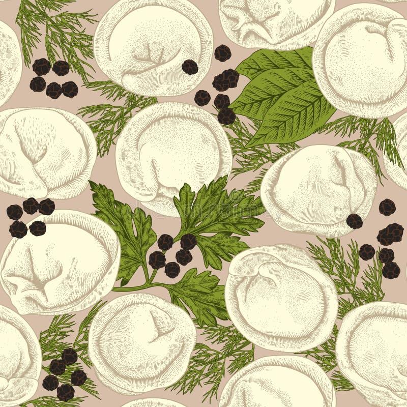 Pelmeni Bezszwowy tło Mięsne kluchy Jedzenie ilustracja wektor
