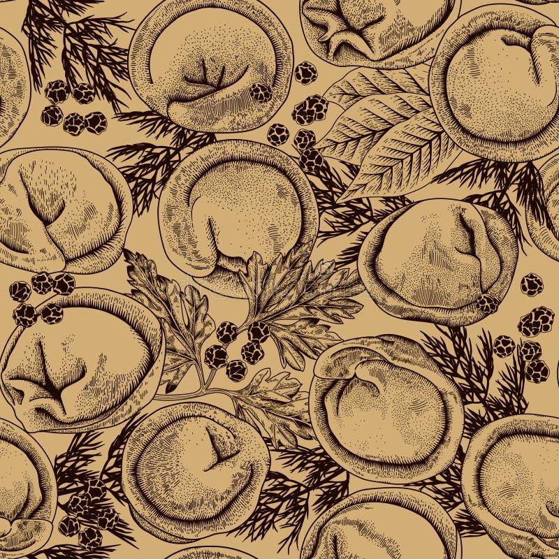 Pelmeni Bezszwowy tło Mięsne kluchy Jedzenie royalty ilustracja